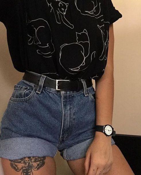 Shirt Cat Shirt Black T Shirt Cute Top Tumblr Oversized T