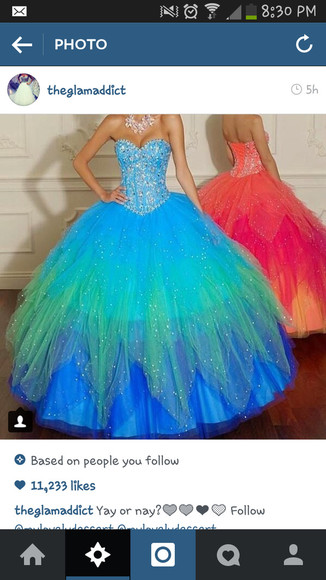 ball gown prom colourful sweetheart