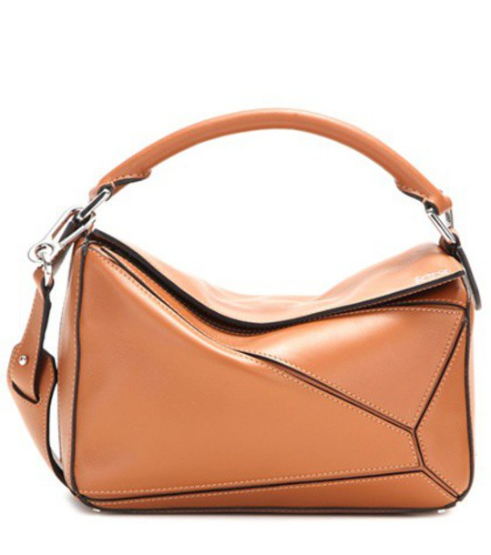 Loewe Puzzle Small leather shoulder bag in brown