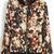 Black Stand Collar Long Sleeve Zipper Floral Jacket - Sheinside.com