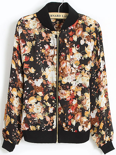 Black Stand Collar Long Sleeve Zipper Floral Jacket - Sheinside.com