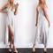 Silver glossy satin maxi slit elegant dress on storenvy