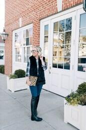 lemon stripes,blogger,jacket,shirt,bag,jeans,shoes,sunglasses,vest,boots,clutch,winter outfits