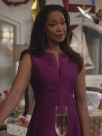dress natalie waters gina torres revenge purple satin