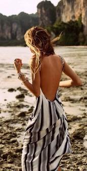 dress,maxi,stripes,low back dress,backless dress,beach dress,beach,summer dress,summer,white dress,striped dress