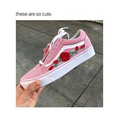 shoes,rose patch vans old skool