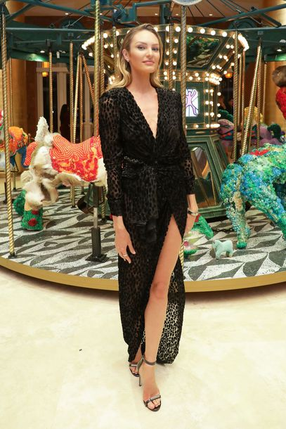 dress sandals sandal heels celebrity model off-duty gown plunge dress candice swanepoel