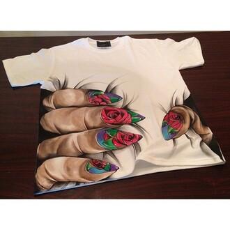 t-shirt shirt cool shirts style weed shirt blouse need wheretofindit nails roses