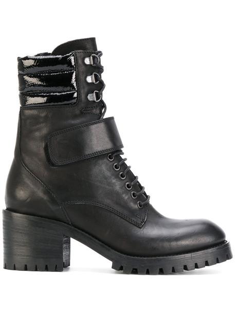 Fausto Zenga biker boots women boots leather black shoes