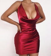 dress,red dress,silk dress,v neck dress,v neck,mini dress,skirt,cleavage,red,silk,club dress