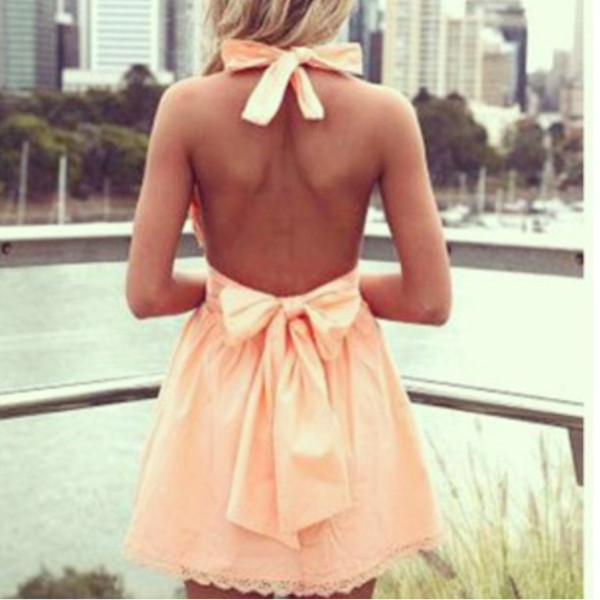 dress dress peach bows bow peach dress summer summer outfits cute backless dress backless prertty