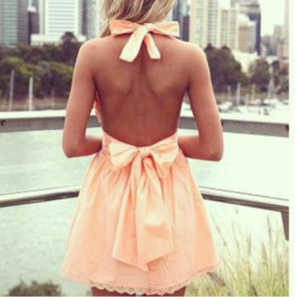 dress dress peach bows bow peach dress summer summer outfits cute backless dress backless prertty