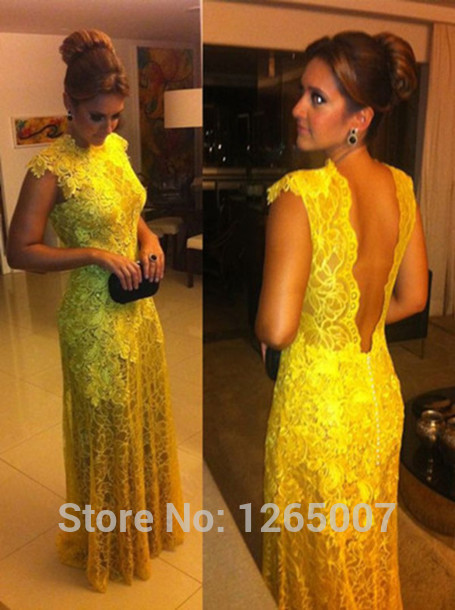 Aliexpress.com : Buy 2014 Arabic Scoop Neck Cap Sleeves Open Back A Line Yellow Lace A Line See Through Prom Dresses Fashion Summer Long Gowns from Reliable dress dog suppliers on SFBridal