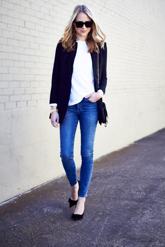 fashionjackson blogger jacket t-shirt jeans shoes sunglasses bag jewels blue jacket skinny jeans high heel pumps shoulder bag