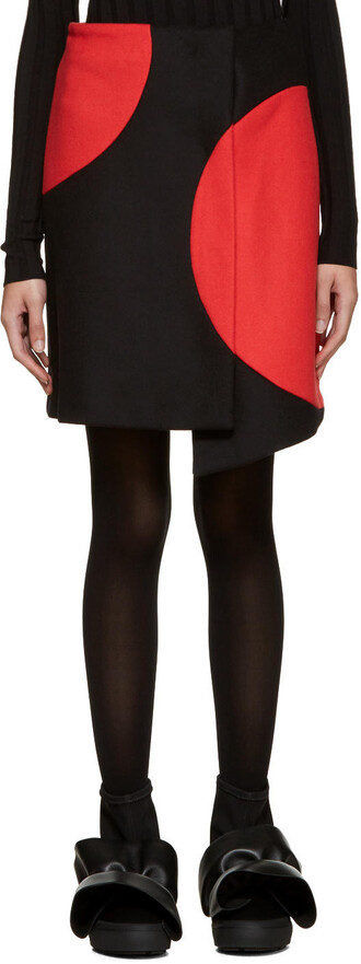skirt wrap skirt black black and red red