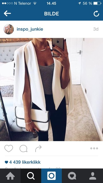 jacket white jeans purse bag outfit outfit idea fall outfits office outfits