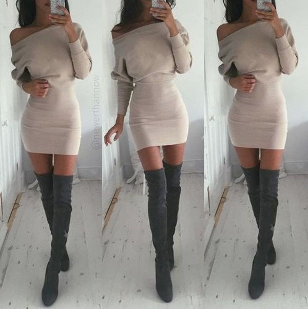 Dress: women dress, sexy dress, beige dress, boots, nude dress ...