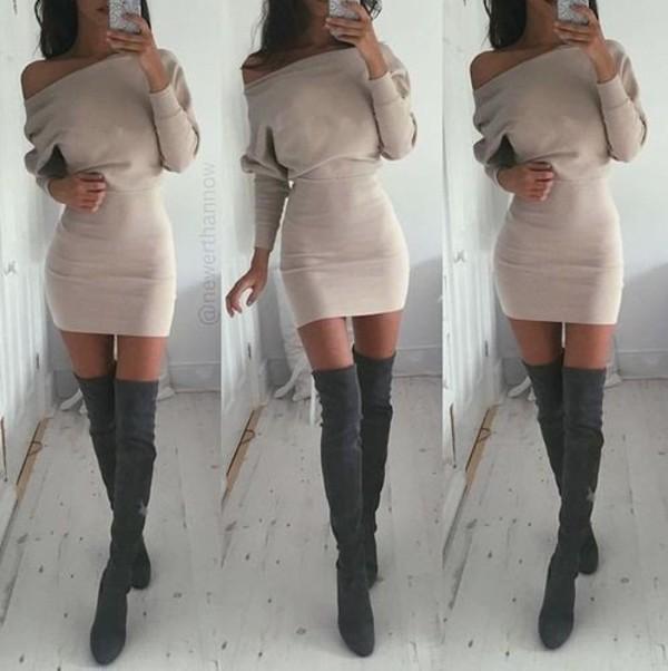 Dress: women dress, sexy dress, beige dress, boots, nude dress ...