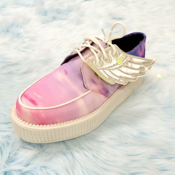 shoes platform shoes wing shoes winged shoes wings pastel kawaii