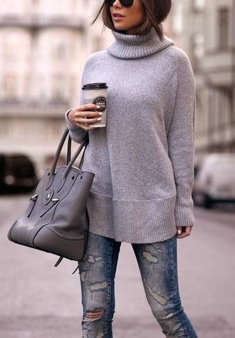 sweater grey sweater jumper gray turtleneck oversized sweater