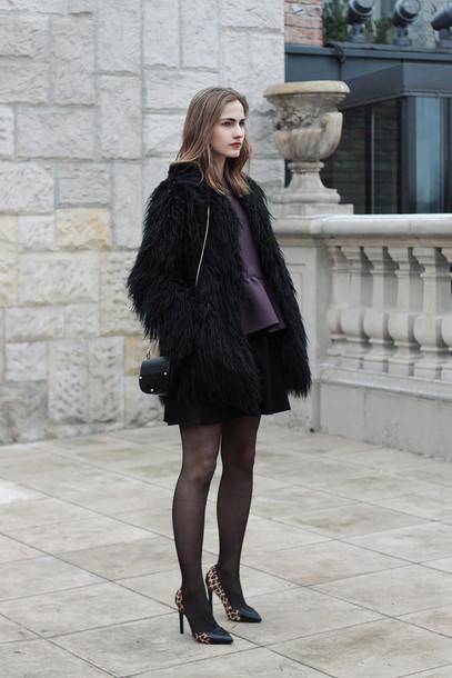 so in carmel blogger blouse plum fluffy black jacket stilettos