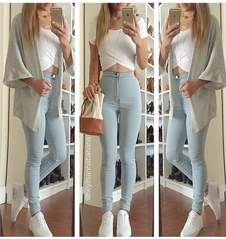 jeans cardigan kimono top crop tops white top white crop tops skinny jeans blue jeans light blue jeans high waisted jeans high waisted purse style shoes fashion sneakers nike nike shoes jewels jewelry necklace accessories bag