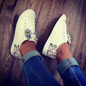 shoes cute white sneakers bowtie flowers