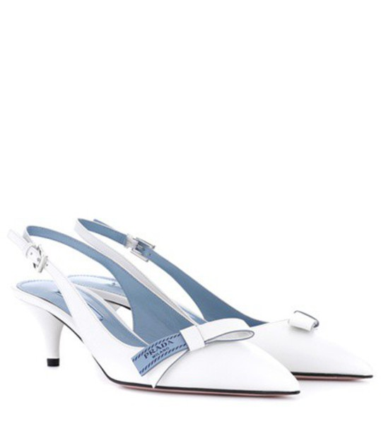 Prada back pumps leather white shoes