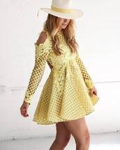 dress,tumblr,yellow dress,yellow,a line dress,cut out shoulder,cut-out dress,see through,see through dress,mesh,mesh dress,mini dress,hat,sun hat,pastel dress,cold shoulder dress,cocktail dress,skater dress,backless dress,birthday dress,party dress,spring dress,wedding clothes