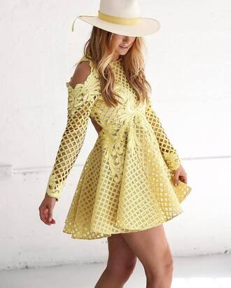 dress tumblr yellow dress yellow a line dress cut out shoulder cut-out dress see through see through dress mesh mesh dress mini dress hat sun hat pastel dress cold shoulder dress cocktail dress skater dress backless dress birthday dress party dress spring dress wedding clothes