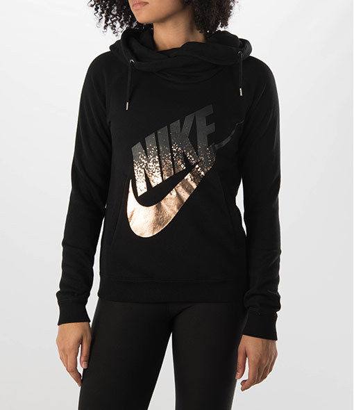 3da81dddfa3d  684135-010  Women s Nike Rally Funnel Metal Hoodie  NEW