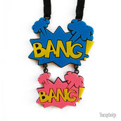 jewels,handmade,trendy necklace,cartoony,pop,etsy,jewelry,pop art,pink,blue,yellow,type,cute,pretty,popart,bang bang,fashion accessory,interesting,necklace,fashion,bang