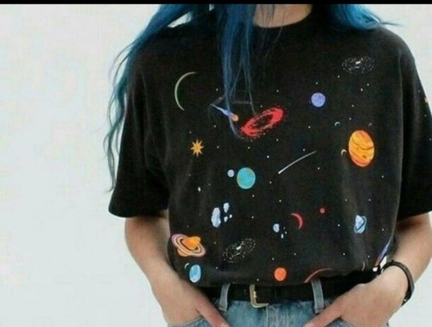 shirt black space nasa planets colorful colorful color/pattern colorful indie alternative boho boho shirt