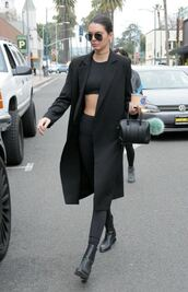 crop tops,all black everything,kendall jenner,black coat,black pants,black leggings