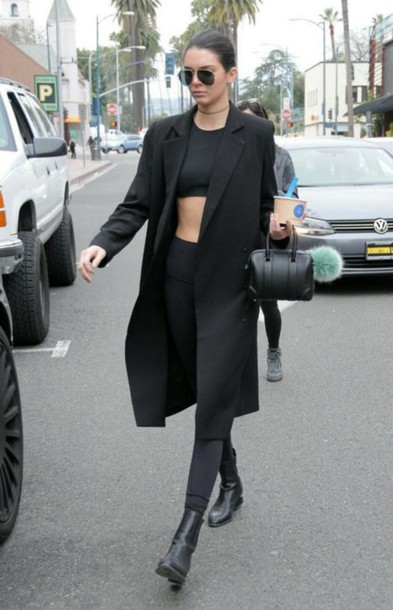 crop tops all black everything kendall jenner black coat black pants black leggings
