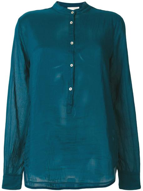 Forte Forte shirt sheer shirt sheer women cotton blue silk top