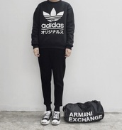 jacket,jumper,black,adidas,japanese,japanese words,bag,armani exchange