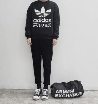 jacket jumper black adidas japanese japanese words bag armani exchange