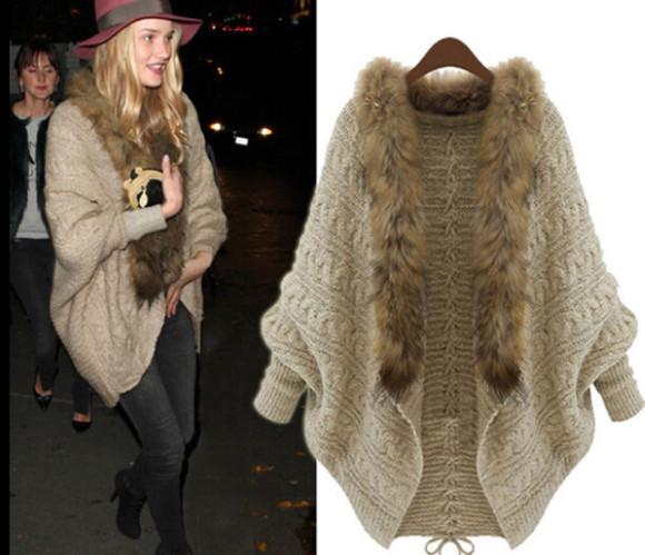 knitwear cardigan faux fur knitted cardigan