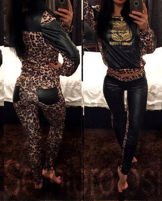 jumpsuit leopard print animal print skinny pants pants top blouse pullover leggings tumblr outfit tumblr clothes clothes leopard leggings girly trendy dope