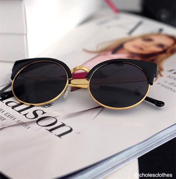 sunglasses black and gold pls black gold round