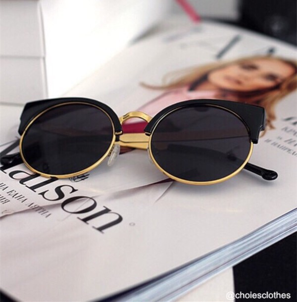 sunglasses pls black gold round