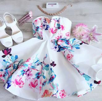 dress haute rogue floral skater dress summer dress cute dress prom dress strapless dress floral dress blue floral dress