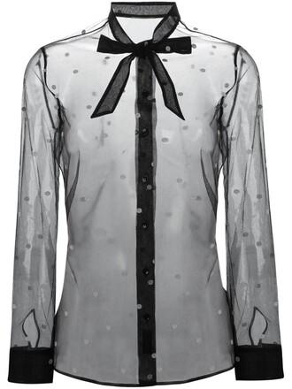 blouse sheer black top