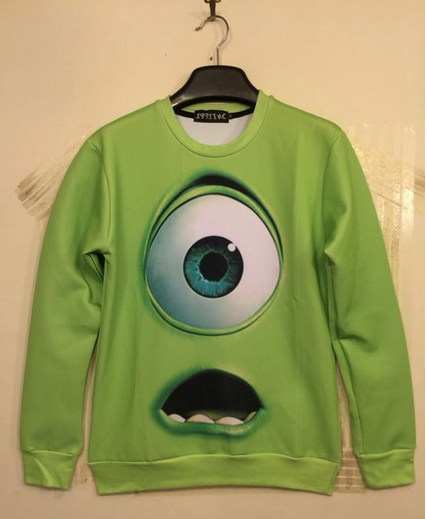 Monsters inc mike wazowski harajuku unisex sweatshirts pullover free shi