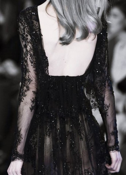 dress black lace backless dress