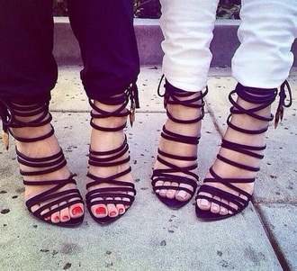 high heels black shoes style strappy sandals