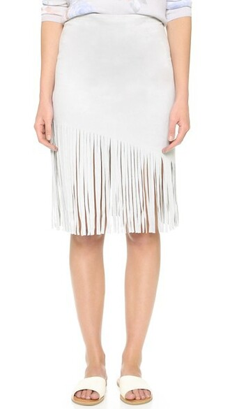 skirt fringe skirt light suede grey