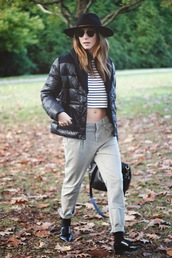 to bruck ave,blogger,stripes,cropped,down jacket,pants,puffer jacket,black jacket,hat,black hat,crop tops,striped top,sunglasses,nude pants,black shoes,shoes