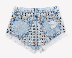 Wonderland Acid Frayed Studded Shorts | RUNWAYDREAMZ